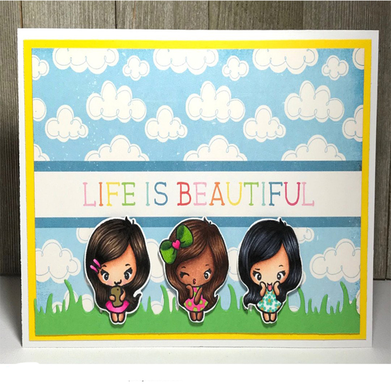 Happy Girl Clear Stamp DIY Stencil For Scrapbooking Handcraft Embossing Template Paper Cards Crafts Fun New Handmade in Stamps from Home Garden