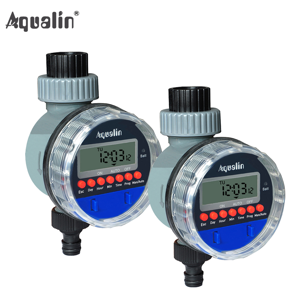 2 piezas pantalla LCD electrónica hogar válvula de bola agua jardín temporizador de riego controlador sistema #21026-2