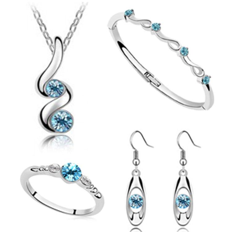 Hochzeit Sets Silber Überzogene Anhänger Halsketten Ohrring Ringe Armband Armreifen Engagement Für Frauen