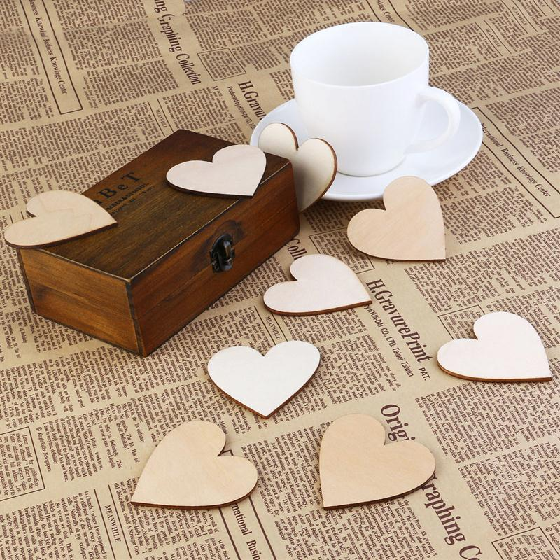50pcs heart shaped wooden slices christmas birthday wedding decoration party inflatable natural diy crafts embellishments 6cm in party diy decorations from