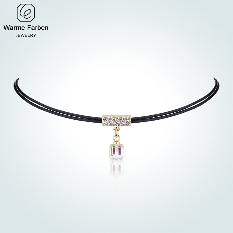 Embellished With Crystal From Swarovski Choker Necklace Baroque Clavicle Double Rope Chain Square Pendant Necklace Collar Gift