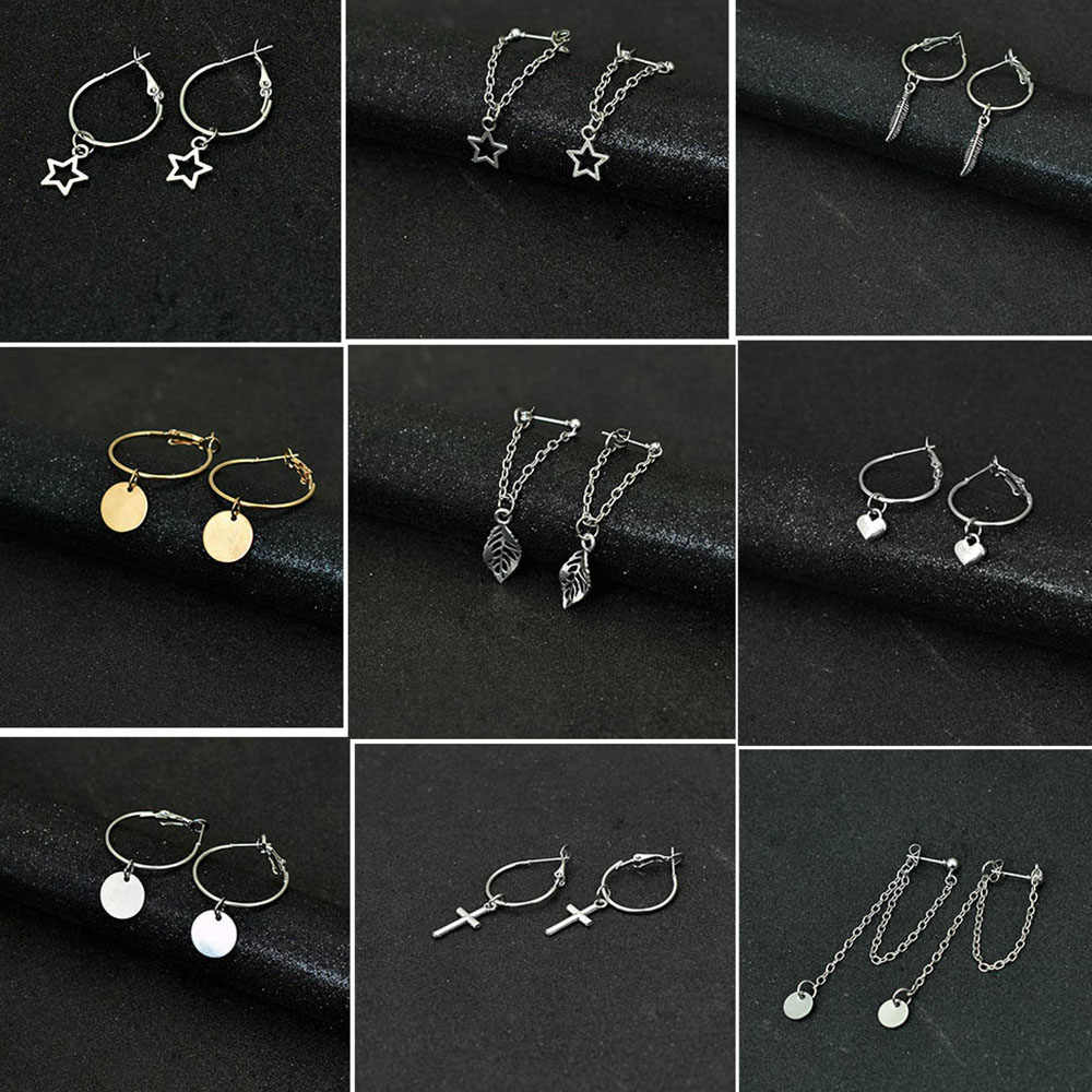 Bing Tu Simple Silver Color Round Earrings Long Tassel Drop Dangle Earring For Women Ear Jewelry Heart Star Pendant Earing