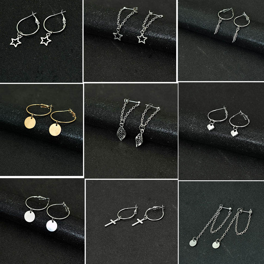 Bing Tu Simple Silver Color Round Earrings Long Tassel Drop Dangle Earring For Women Ear Jewelry Heart Star Pendant Earing(China)