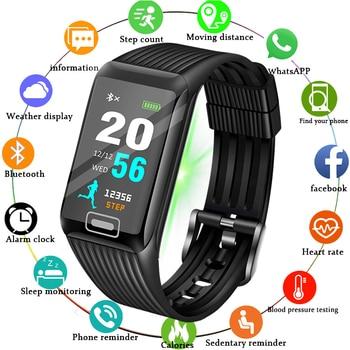 2019 New Smart Bracelet Men Heart Rate Monitor Fitness Tracker LCD Color Screen Sport Pedometer Watch Band waterproof Clock+Box