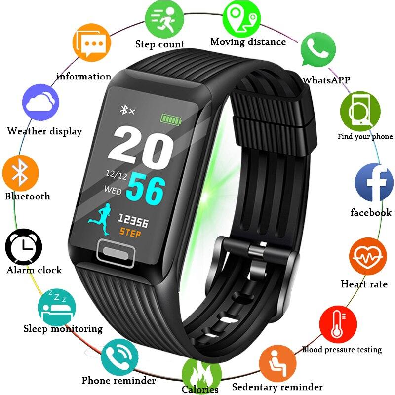 2019 Новый умный браслет для мужчин сердечного ритма мониторы фитнес трекер ЖК дисплей цвет экран спортивные часы группа водонепроница