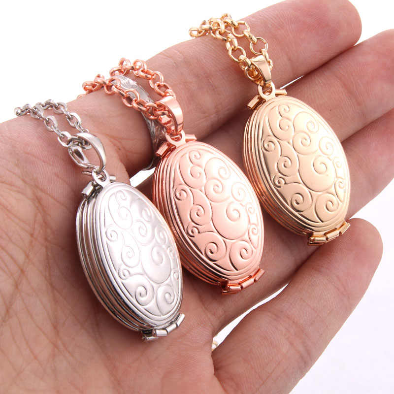 Fashion Photo Frame Memory Locket Pendant Necklace Plata/Gold Color Romantic Vintage Rose Flower Jewelry Women Gift