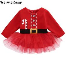Baby Girl Christmas Dress Kids Long-Sleeved Dress Kids Casual Tulle Tutu Dress Party Outfits  Costume Girls Christmas Clothes new style baby girls kids christmas party dress red tulle tutu dress princess christmas costume feathers new year girl dresses