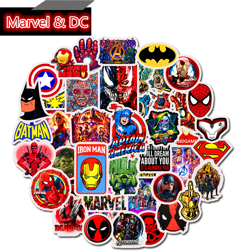 50Pcs Captain America Iron Man Cartoon Stickers Skateboards Luggage Case Laptop Bike Motorcycle Phone Car Funny Graffiti Decals