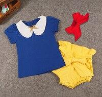 Baby Clothing Sets Girls Summer 3PCS Clothes Headbands Short T Shirt Short Cute Baby Pants