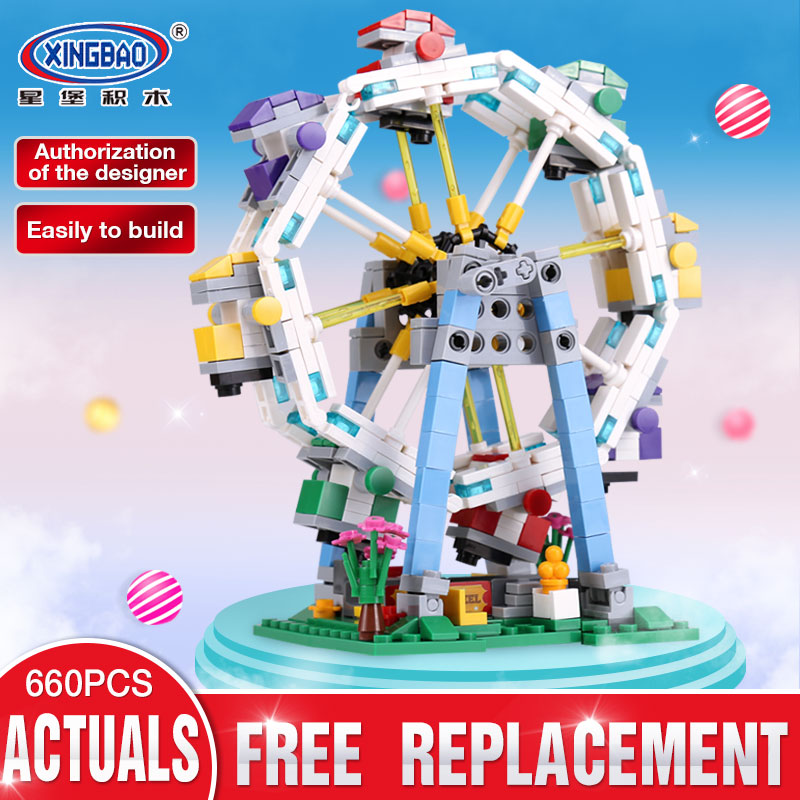 XingBao 01106 Funny 660Pcs Colorful World Series The Ferris Wheel Set Building Blocks Bricks Educational Toys Model As Boy Gift black pearl building blocks kaizi ky87010 pirates of the caribbean ship self locking bricks assembling toys 1184pcs set gift