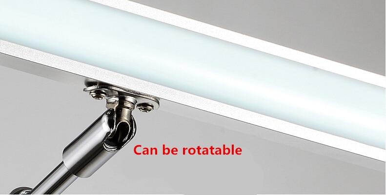 Draaibare flexibele moderne led badkamer spiegel rvs wandlamp voor