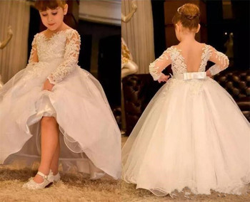 White Tulle Flower Girl Dress For Wedding Lace Appliques Backless Holy First Communion Gowns New Coming Girls Birthday Dresses
