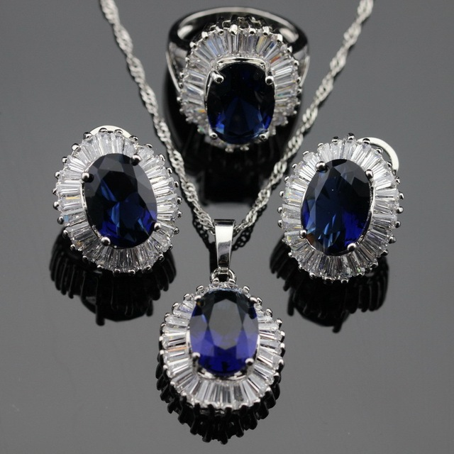 Blue Created Sapphire  White CZ Silver Color Jewelry Sets For Women Necklace/Pendant/Earrings/Rings Free Box