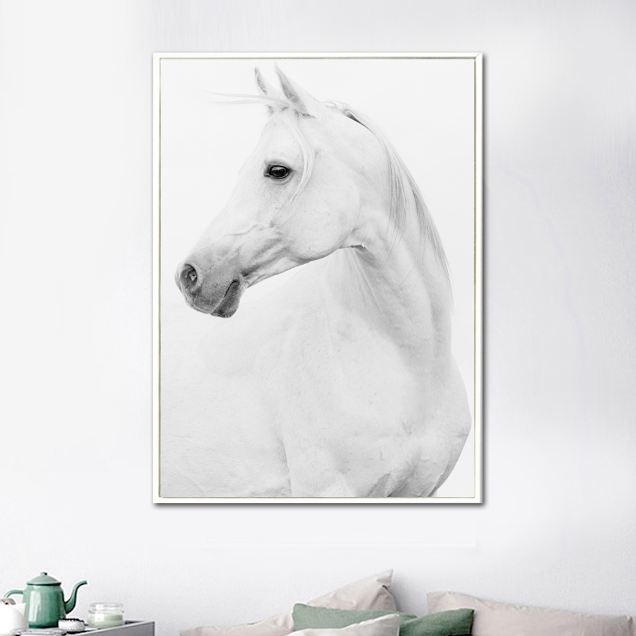 White Horse Animals Wall Art Canvas Painting Nordic Posters And Prints Canvas Art Wall Pictures For Living Room Bedroom Decor