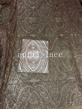 AA149# nude color 61# luxury pattern glued print glitter sparkle net tulle mesh lace for fashion designer/ wedding/party