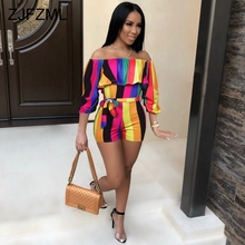 Off Shoulder Rainbow Striped Sexy Bodycon Playsuit 3 4 Lantern Sleeve Floral Print Rompers Womens Club