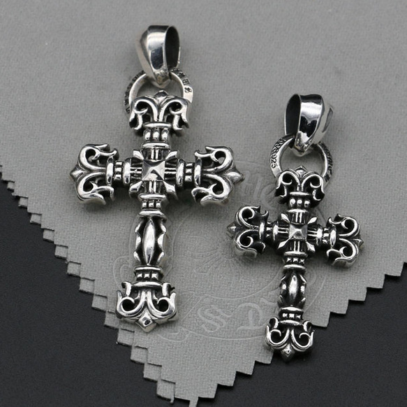 Genuine 925 Sterling Silver Cross Necklace Pendant GD right-wing Retro Pendant Male Tide Accessories