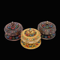 Tibet Buddhism Hand Painting Eight Auspicious Lotus Incense Burner Multi purpose Aroma Stove Gold/Copper Ancient/Cyan
