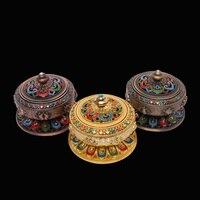 Tibet Budizm El Boyama Sekiz Uğurlu Lotus Tütsü Brülör Çok amaçlı Aroma Soba Altın/Bakır Antik/Camgöbeği