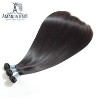 Amanda Peruvian Hair bundles Weave 100% straight human hair 3/4 Bundles Remy hair double drawn thick and full end no short hair