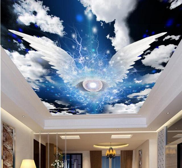 3d room wallpaper custom mural non woven angel wings sky for Ceiling cloud mural