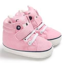 Детская Осенняя обувь для мальчиков и девочек с изображением лисы, кружевная хлопковая ткань, нескользящая Мягкая подошва, кроссовки для