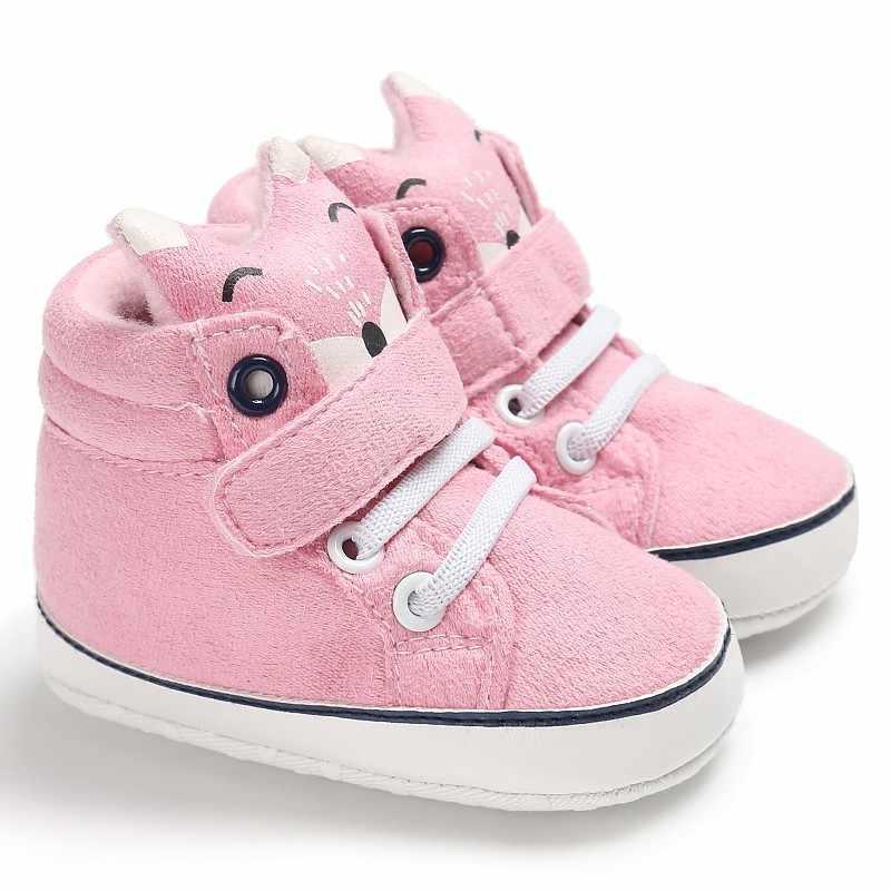 Осенняя обувь для малышей; хлопковые нескользящие тапочки для малышей с лисьим носком и кружевом; 1 пара
