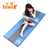 Hewolf outdoor 4cm thickened moisture pad supporting tent camping ground mat beach leisure nap automatic filling air cushion