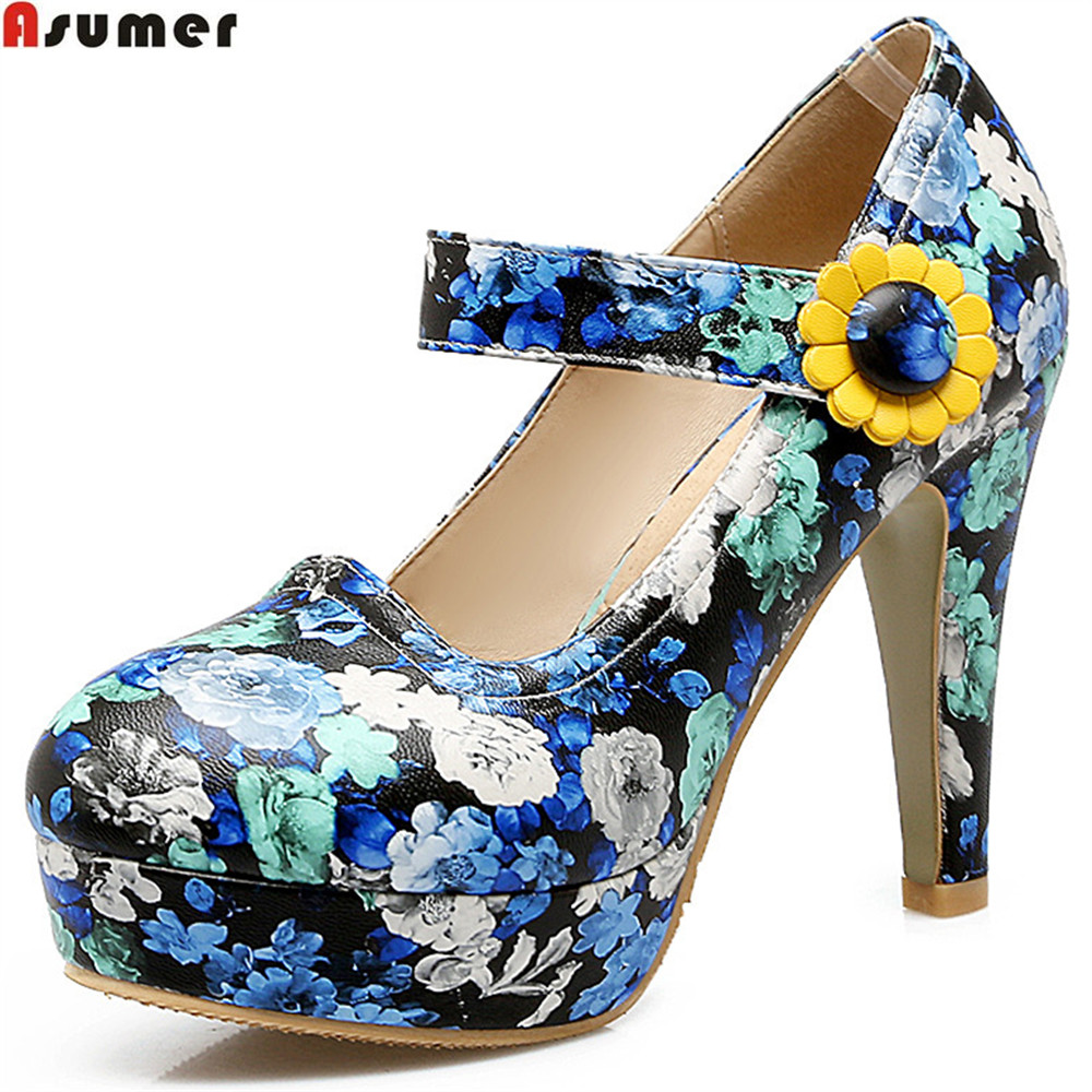ASUMER fashion spring autumn new women pumps round toe ladies prom shoes buckle platform shallow high heels shoes plus size xiaying smile new spring autumn women pumps british style fashion office career ladies shoes thin heel round toe shallow pumps