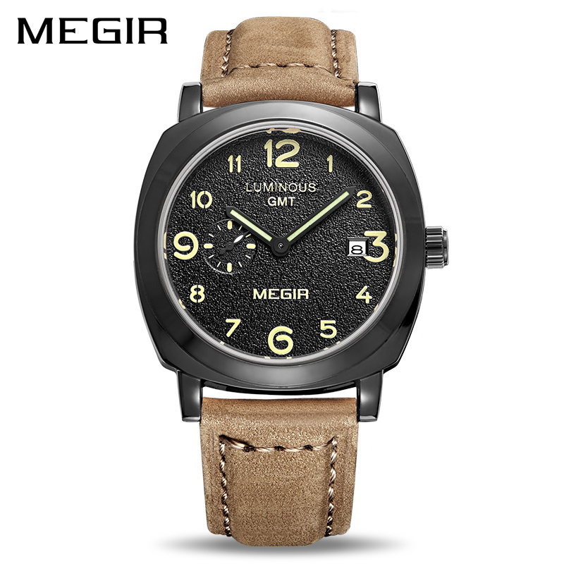 MEGIR Brand Business Quartz Watch Fashion Luxury Leather Men Watches Military Wristwatch Clock Erkek Kol Saati Relogios 1046 megir original watch men top brand luxury quartz military watches leather wristwatch men clock relogio masculino erkek kol saati
