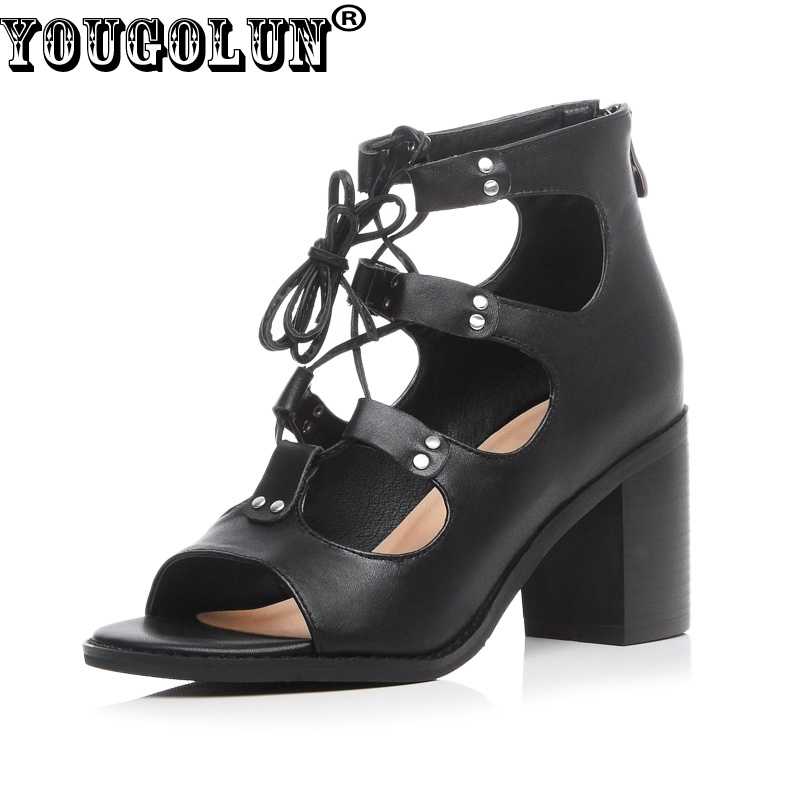 ФОТО YOUGOLUN Women Rome Sandals Genuine Leather Summer Ankle Boots Fashion Lace up High Thick Heels Sexy Ladies Black Peep Toe Shoes