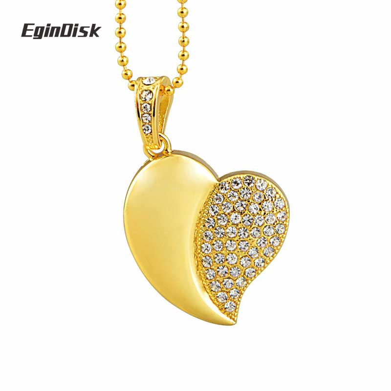 Red LHN 8GB Colorful Heart Necklace Pendant USB 2.0 Flash Drive with Rhinestones