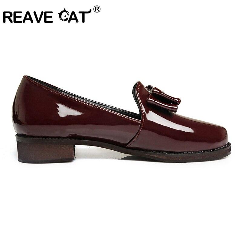 Black white Gran Zapatos Primavera Verano red Brillo Moda Gordo Tacón Dedo Gato De Tamaño Bowtie Pie Pl307 Del Mujer Cool Patente Caliente Cuero Reave tTgqx1wq