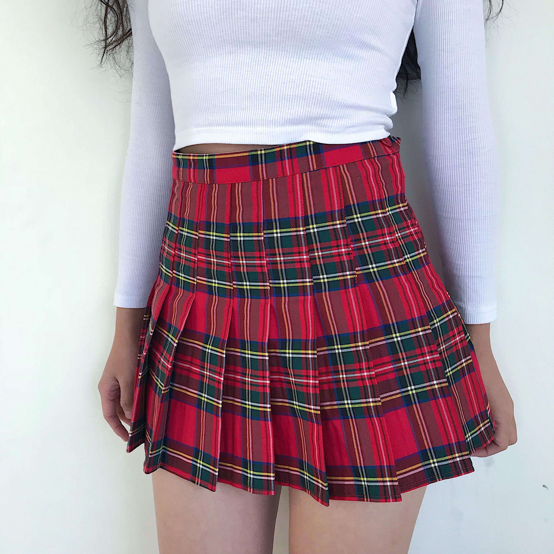 Side Button High Waist School Skirts