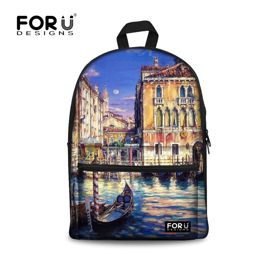 Novelty Design Women canvas backpacks for teenage girls famous brands venice oil painting printing backpack mochila feminina New
