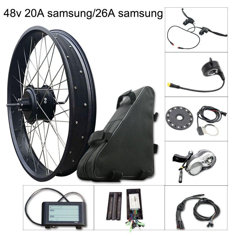 Kit de vélo électrique 1000 w gros pneu moteur roue E Kit de vélo 48 V 20A/26A Samsung Kit de Conversion de vélo électrique pour moteur de moyeu arrière