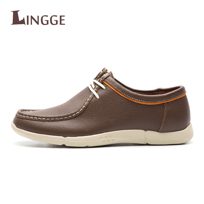 New Fashion British Style Men Causal Shoes Genuine Leather Men Shoes Slip-On Men High Quality Shoes Breathable Mens Shoes