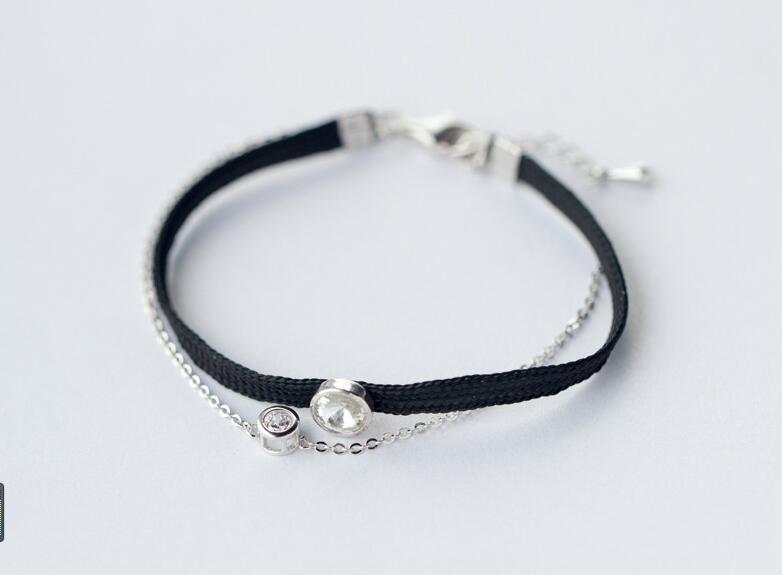 1 Stück 925 Sterling-silber Schmuck Delicate Rolo Kette & Black Cord Kette Armband Mit Runde Cz Charme | Dainty Brautjungfer Ls205 Modischer (In) Stil;