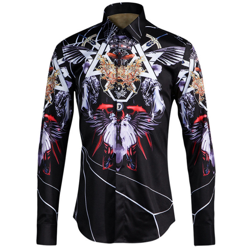 Printed Mens Dress Shirts Casual Cotton Slim Fit Luxury Men Shirt Brand Design Wolf head Long Sleeve Shirt Men Chemise Homme ...