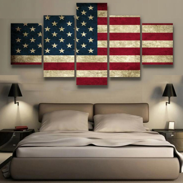 5 Panels Canvas Prints Rustic American Flag Painting Poster Home Decor Wall Art For Living