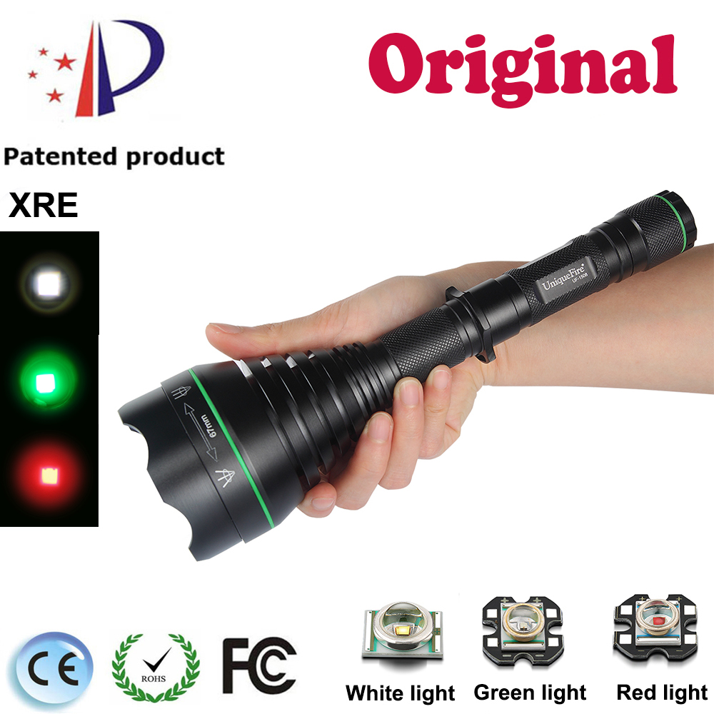 Shenzhen UniqueFire Flashlight UF-1508 Cree XRE(G/R/W)Light Brass Pill LED Flashlight T67 Zoomable Tactical Lamp Light Torch