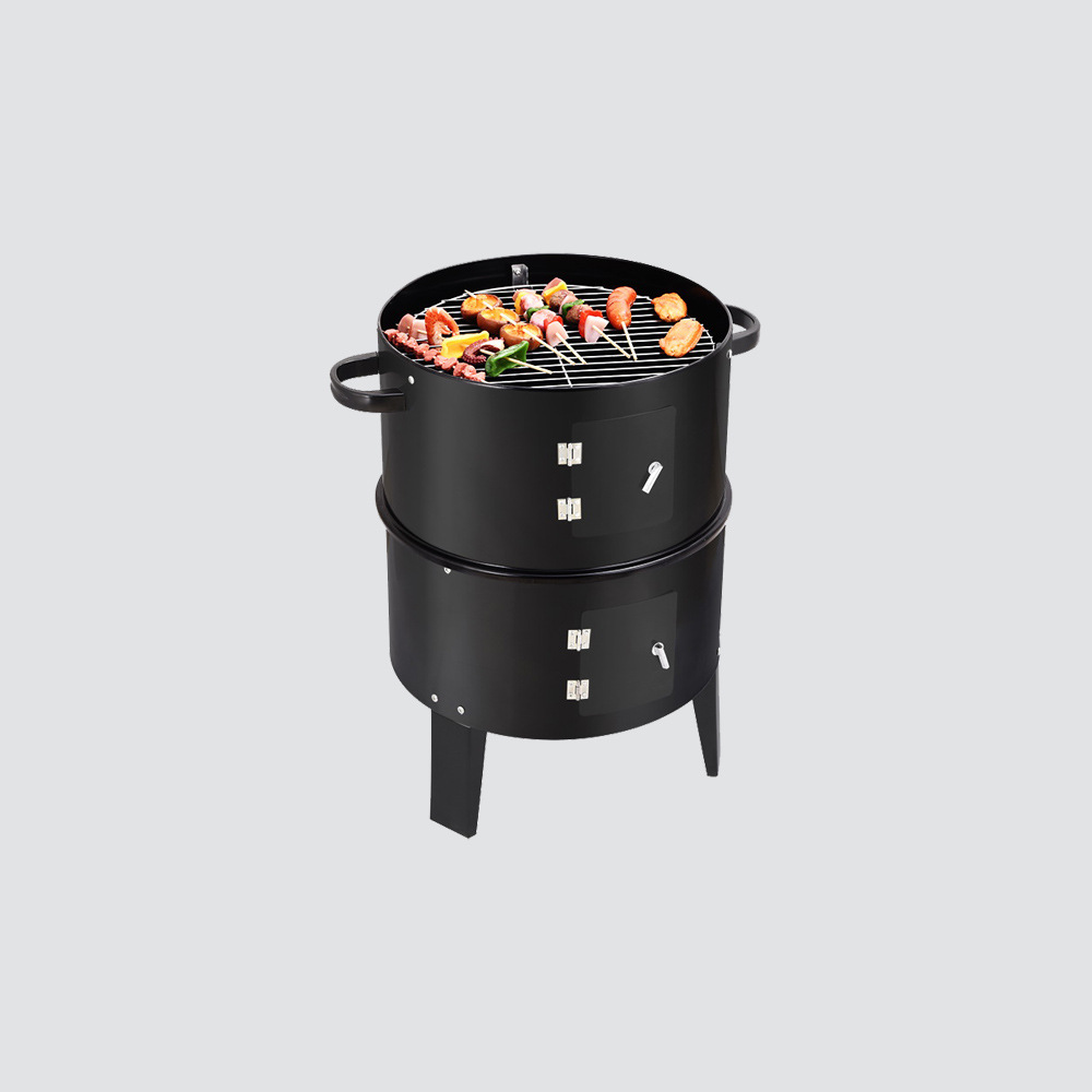 Image 4 - New Model Innovative Metal 3 in 1 BBQ Grill Roaster Steamer Barbecue Grill Portable Outdoor Camping Charcoal Stove grillBBQ Grills   -