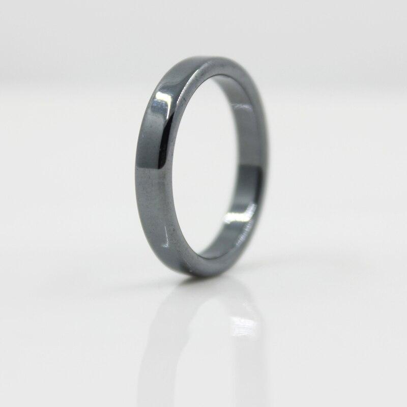 Модные ювелирные изделия AAA качество гладкой 4 мм ширина плоские гематитовые кольца (1 шт) HR1003