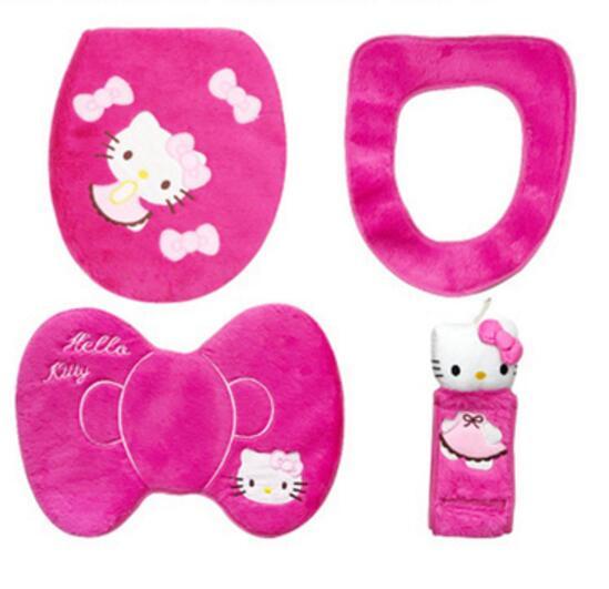 Мягкий теплый меховой коврик для ванной с рисунком котенка из мультфильма, Набор чехлов для унитаза - Цвет: 4 pcs in 1 set red