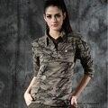 Mujeres Seguidores Del Ejército de Camuflaje Tapas de la Camiseta de Manga Larga Camisetas de Las Mujeres Delgadas Camisetas de Algodón de Tamaño M-XXL