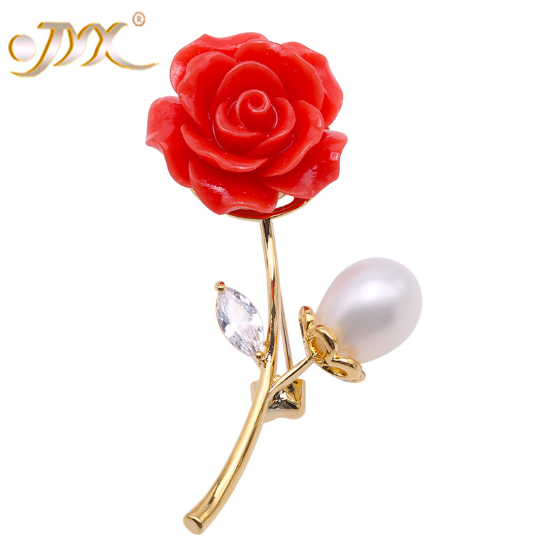 JYX Unique Jewelry 9.5x12mm White Oval Freshwater Pearl Rose Brooch Pin faux pearl rhinestone unique brooch