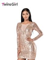 2017 Party Night Club Mini Jurken Herfst Rose Naakt Open terug lange mouwen sequin dress bodycon dress voor vrouwen vestidos LC22867