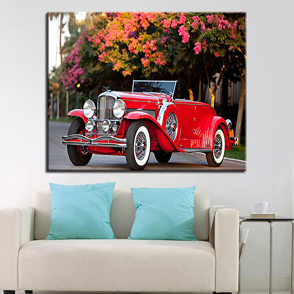 By Numbers DIY Digital Oil Painting On Linen Canvas Streets Red Car Home Decoration Frameless Wall Artwork Pictures in Painting Calligraphy from Home Garden