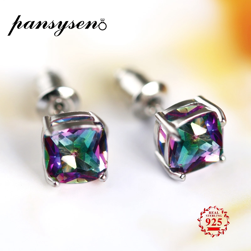 PANSYSEN Vintage 7MM Natural Rainbow Mystic Topaz Earring For Women 100% 925 Silver Jewelry Earring Wholesale Party Wedding Gift(China)