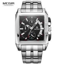 Men's Square Stainless Steel Dress Quartz Wrist Watches Chronograph Business Stopwatch Man Clock Relogios Masculino 2018Black king relogios k0672